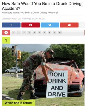 The Dangers of Drunk Driving Quiz