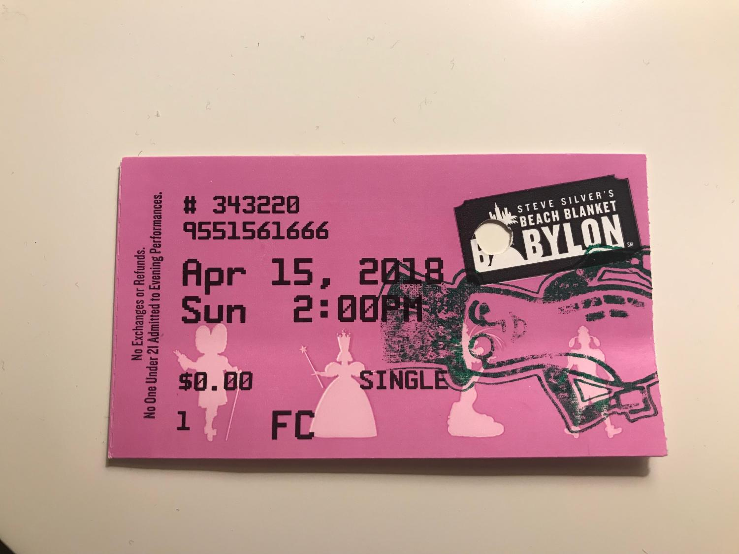 A ticket stub for the famous Beach Blanket Babylon