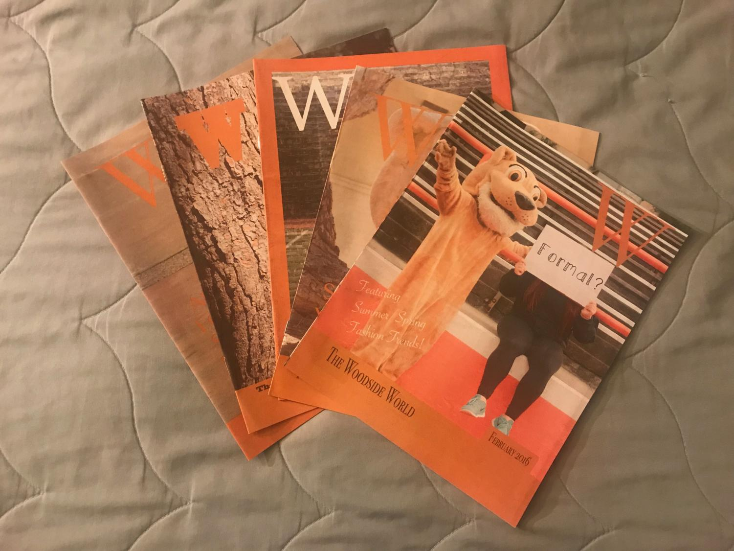 Copies of printed editions of the Woodside World