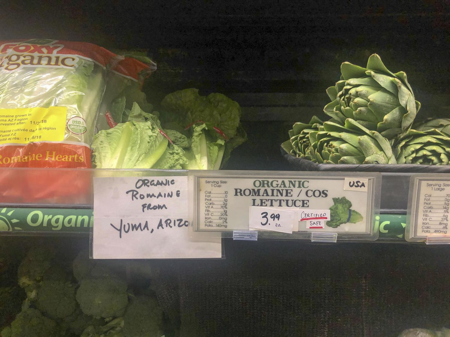 The new romaine labels have been put into place at Bianchini's market in San Carlos.