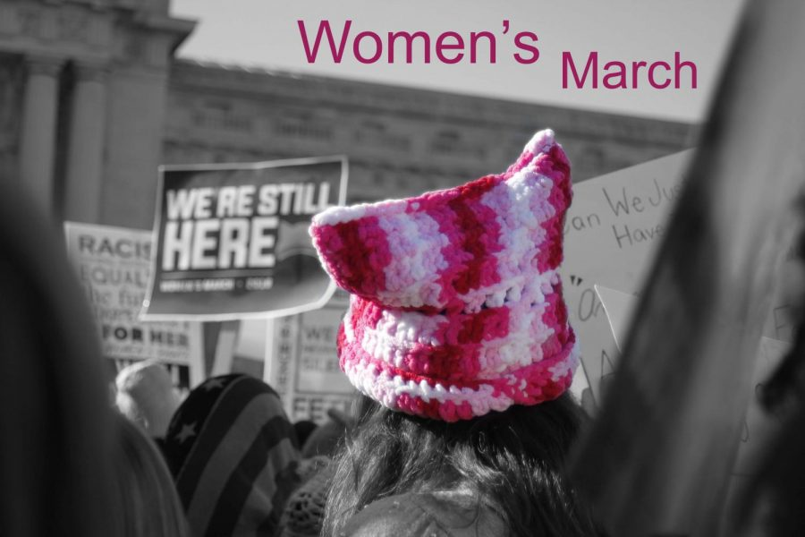 A marcher wears a pink hat to support the cause.