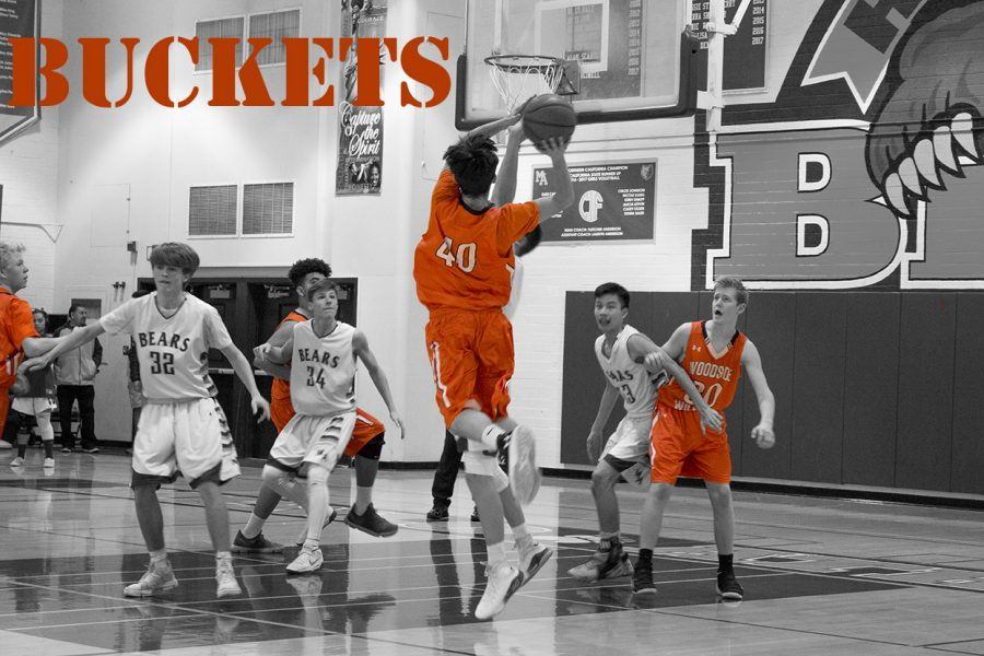 Small Forward Nolan Irion pulling up for a jump shot against the MA Bears.
