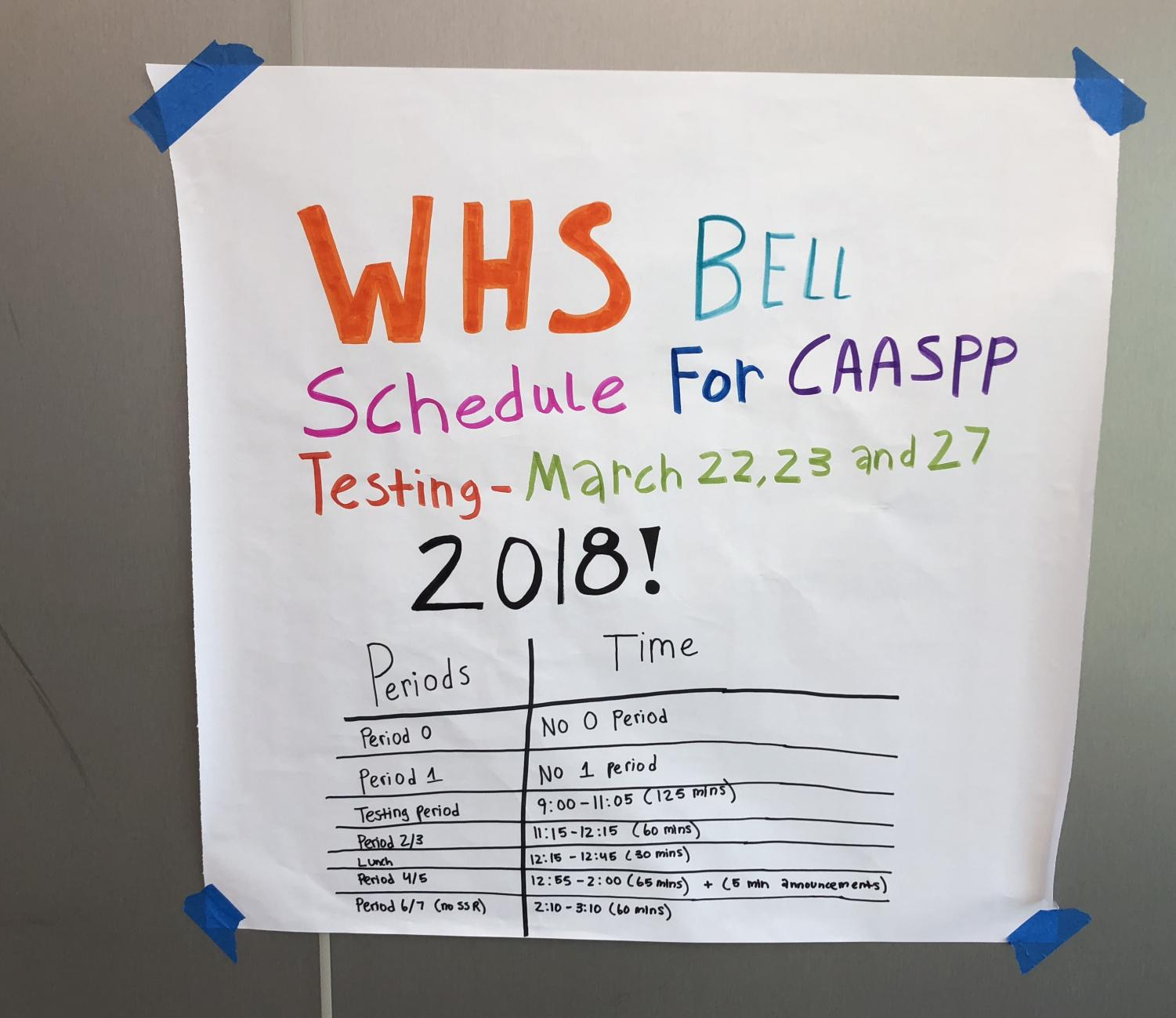 CAASP schedule is posted in the I-Wing for students.