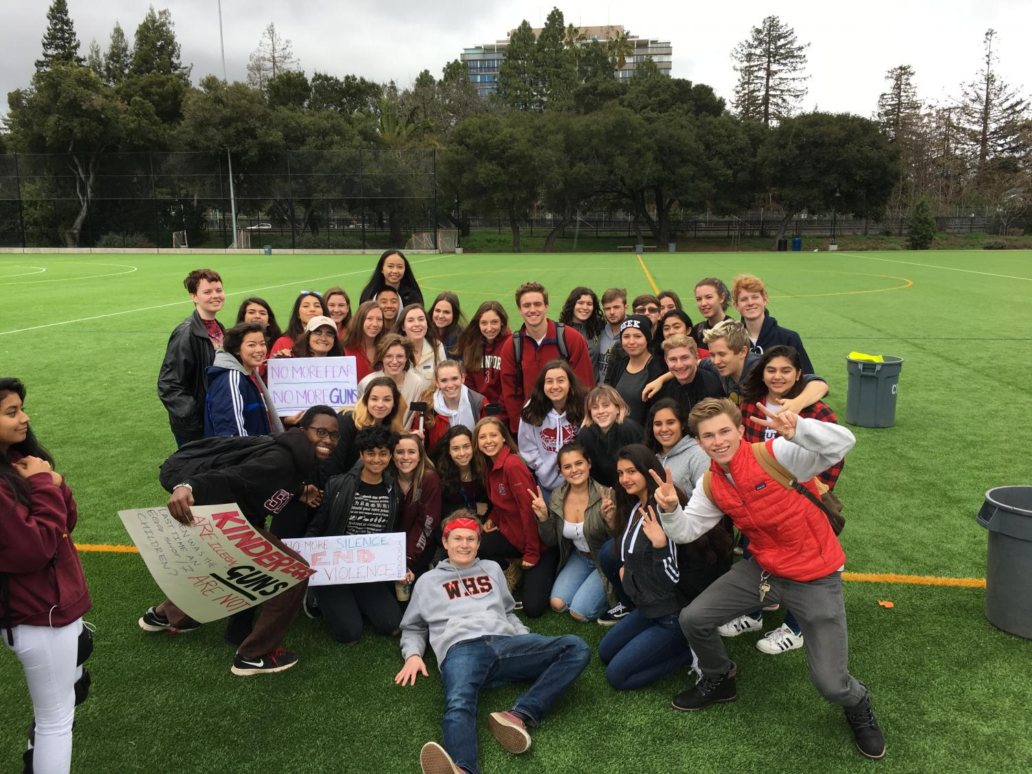 Woodside Students gather for a photo at the Walkout.