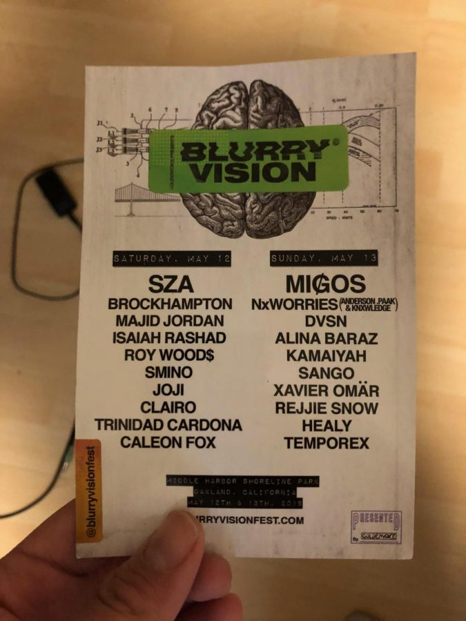 A student holds a ticket to this year's Blurry Vision festival.