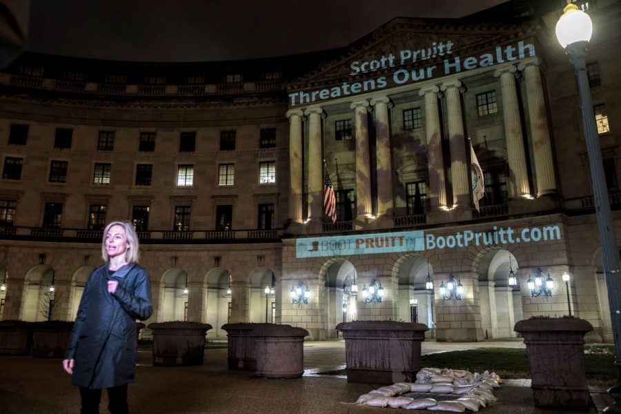 The Conservation Votes protest Scott Pruitt. (photo courtesy of Vox news)
