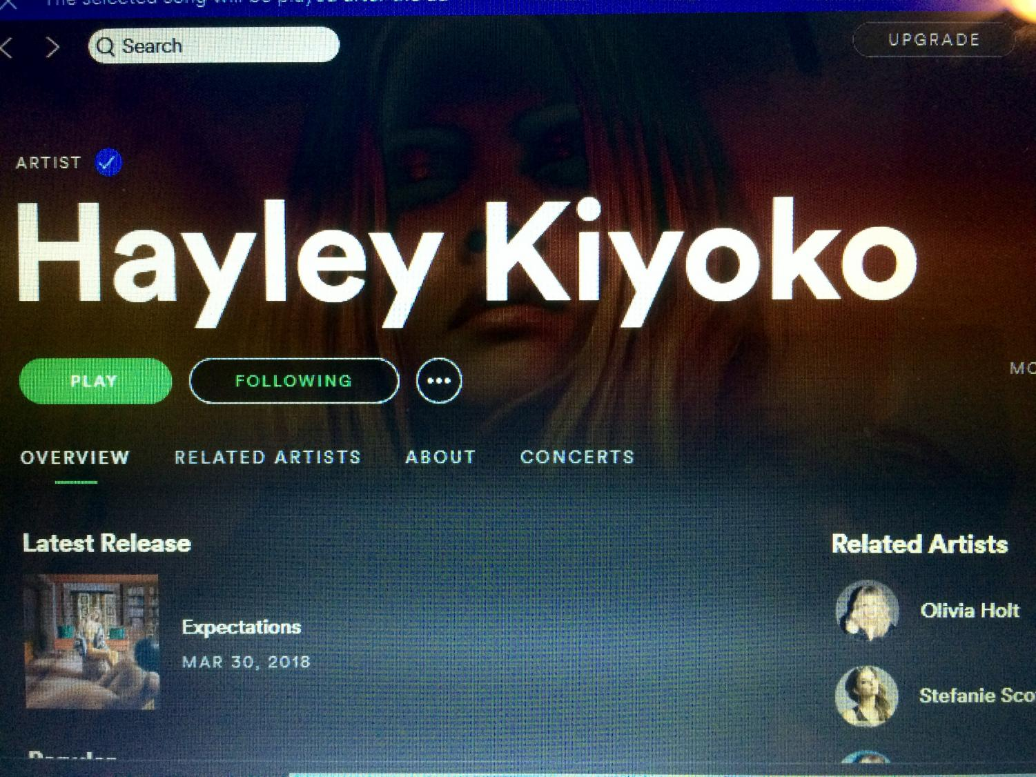 Hayley Kiyoko has over 4.5 million monthly listeners on Spotify.