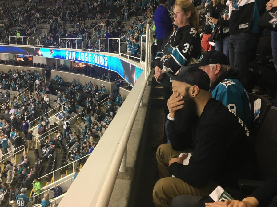 A Sharks fan after witnessing the elimination of the Sharks from the  NHL playoffs.
