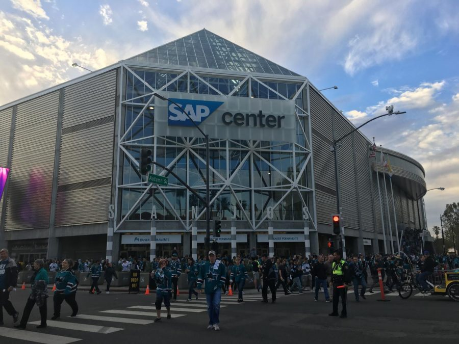 Disappointing fans walk out of the Sharks' elimination game, last Sunday.