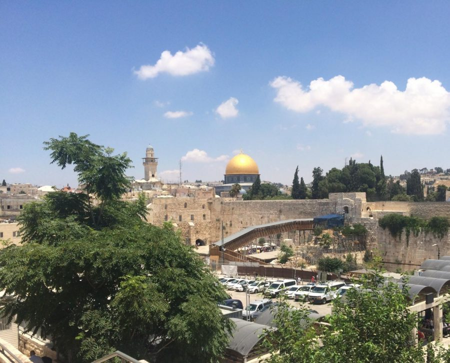 The Temple Mount, a holy site in Islam, above the Western Wall, the holiest place in Judaism. This image was taken in the Old City of Jerusalem.