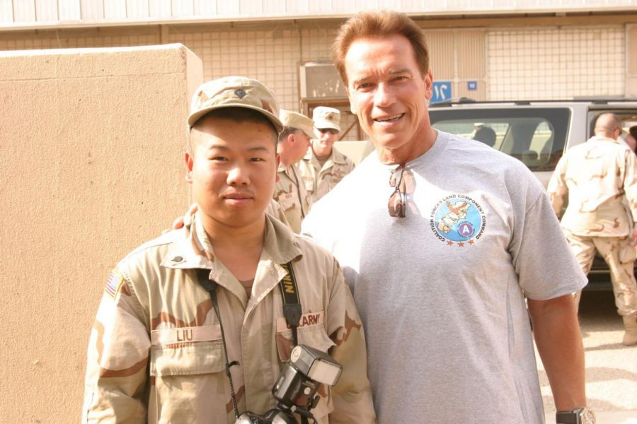 During his time in the army, gubernatorial candidate Peter Liu meets former Governor of California Arnold Schwarzenegger.