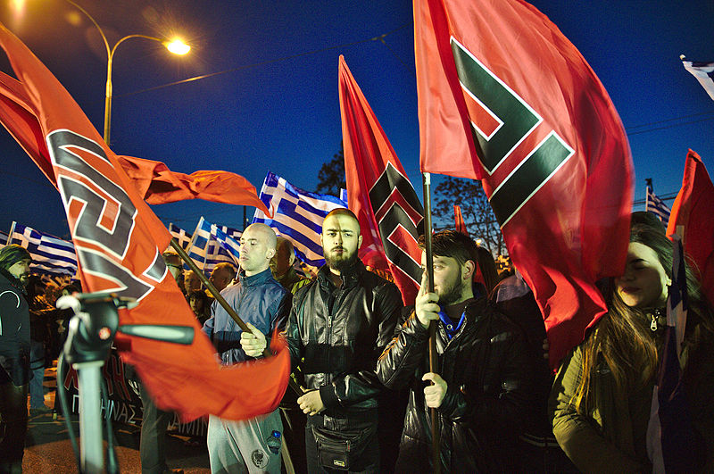 A Greek Golden Dawn political rally in Athens, 2015. Courtesy of Wikimedia.