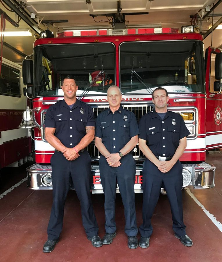 (From left to right) Woodside firefighters Justin Werle, Jim Frey, and Jared Abbott