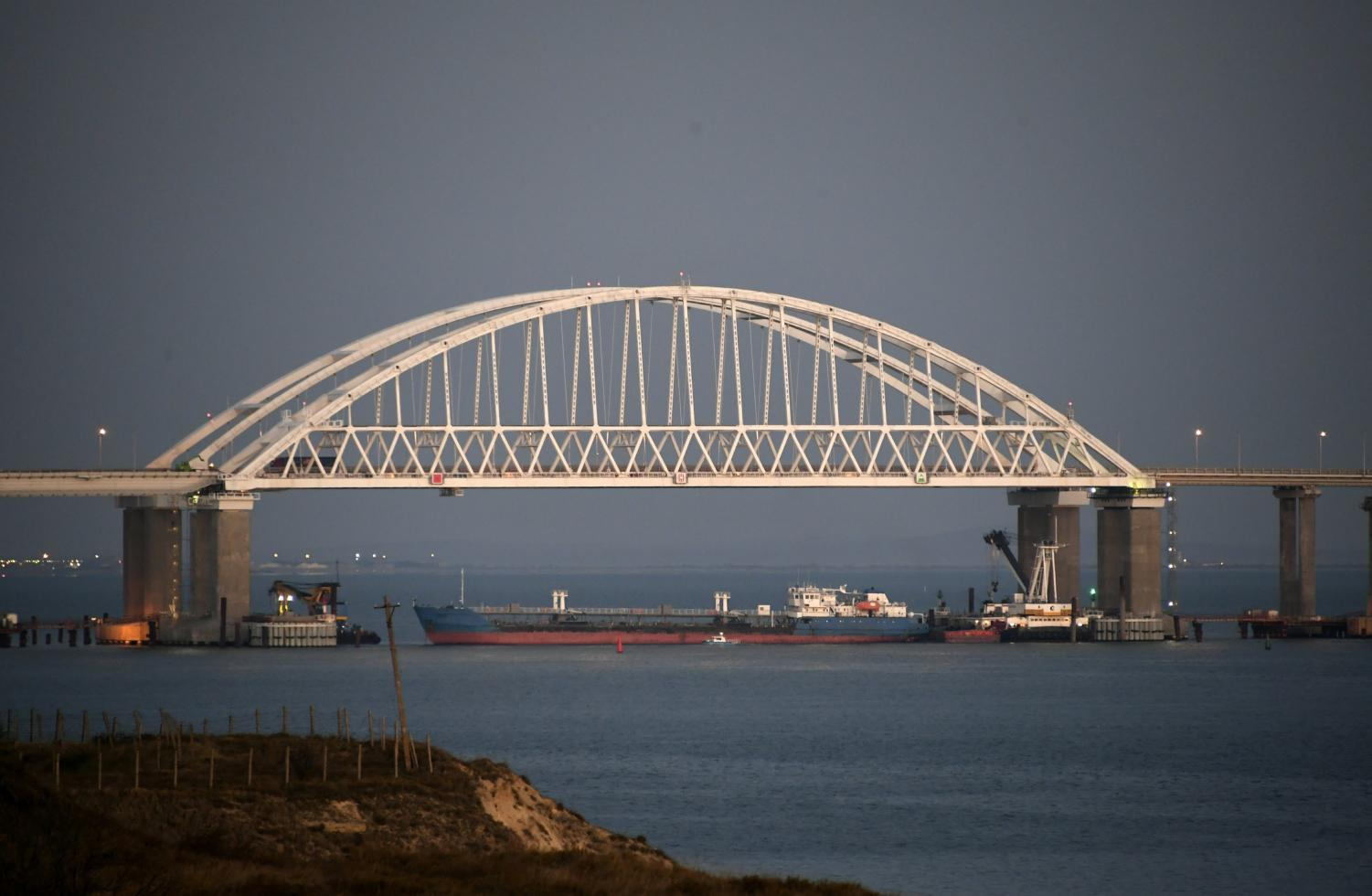 The Kerch Strait has been blocked by a Russian cargo vessel, preventing any sea travel through the strategic waterway.
