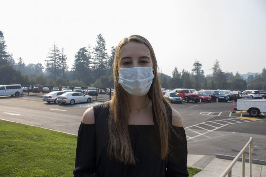 A Woodside student taking precautionary actions against the virus