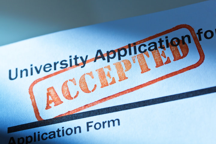 An acceptance letter from a university application.