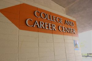 Woodside's College and Career Center is a popular place for seniors to get help filling out college admissions.