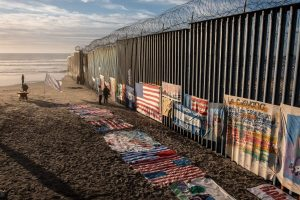 A section of the fence along the United States-Mexico border.