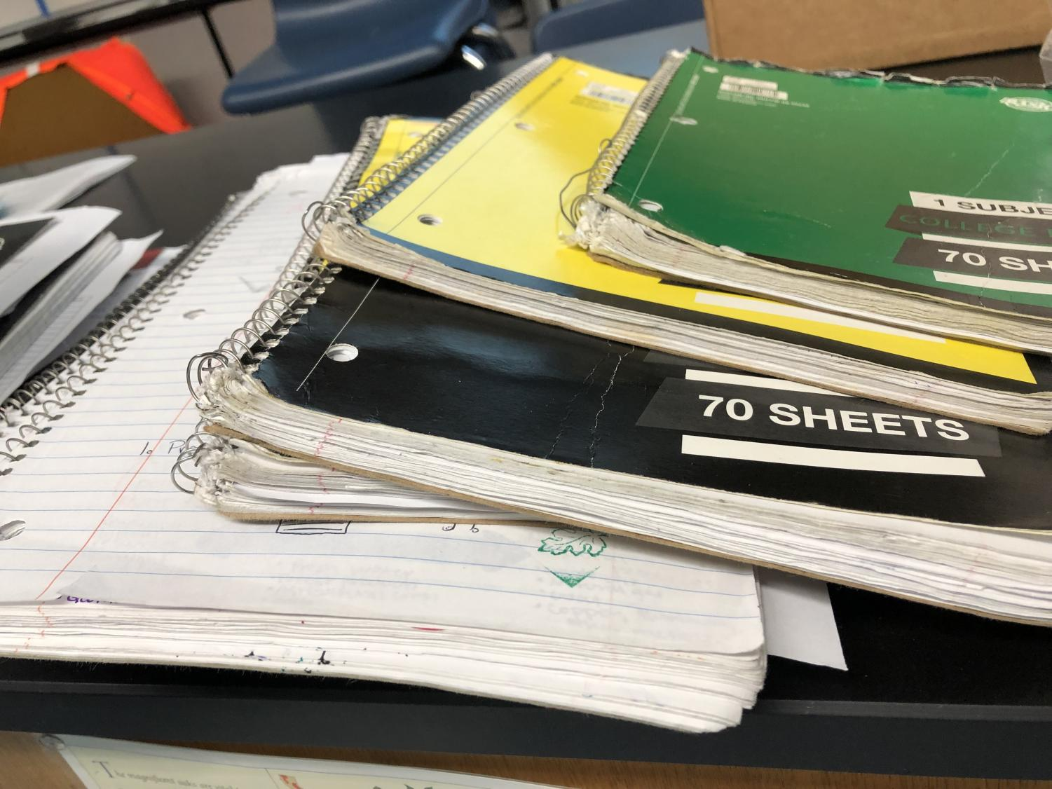 Students+carry+a+variety+of+binders%2C+notebooks%2C+and+loose+papers+in+their+backpacks.