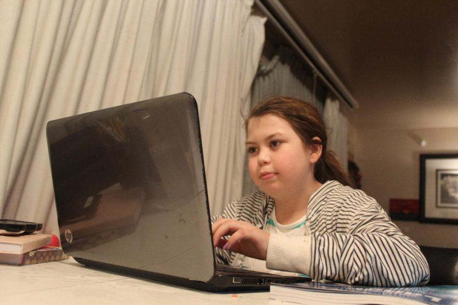 Sarah Peterson doing class work