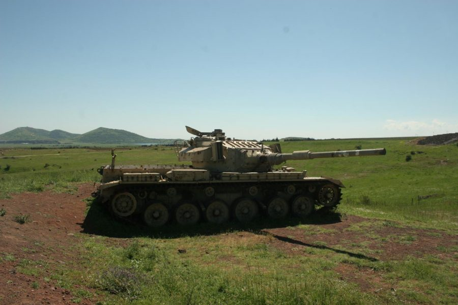 An Israeli tank in the Golan Heights border region.