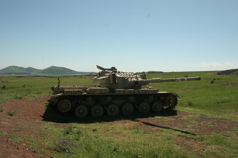 An Israeli tank in the Golan Heights border region.