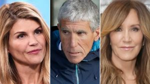 Lori Loughlin (left), William Singer (center), and Felicity Huffman (right) were charged for college admissions bribery.