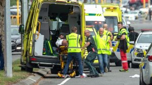 First responders at the scene of the mosque shooting in New Zealand on Friday.