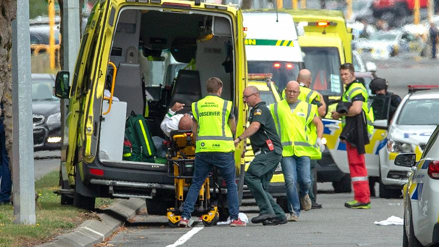 First+responders+at+the+scene+of+the+mosque+shooting+in+New+Zealand+on+Friday.