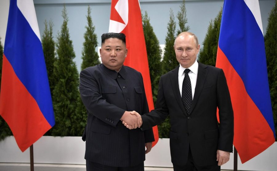 President+Putin+and+Supreme+Leader+Kim+shake+hands+during+the+talks+on+April+25th.