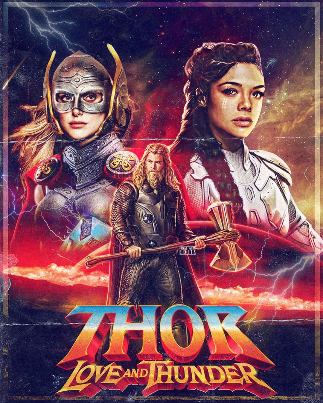 A movie poster for Thor: Love and Thunder, in which Valkyrie, in the top left, has been announced to be LGBTQ+.