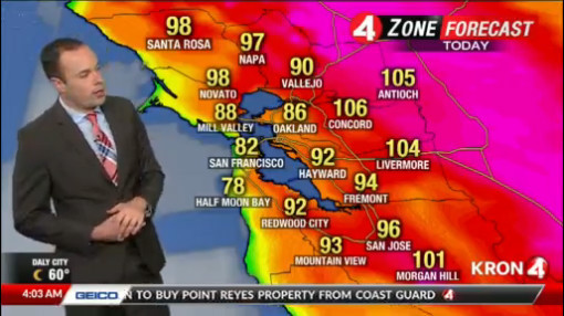 A KRON 4 news weather report on August 14th 2019 shows just how hot it was across the bay during the heat spell that rocked the first day of school