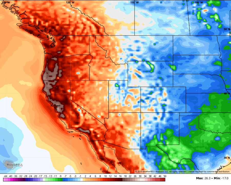A Weatherbell.com heat map shows the heat spell that rocked the entire West Coast during the first week of Summer Break in June. Redwood City was no exception, with temperatures coming as high as 97 degrees Fahrenheit
