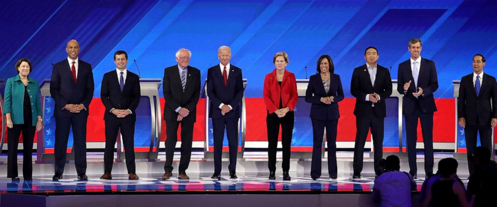 The Democratic candidates arrive at the Houston Democratic Debate on September 12, 2019.
