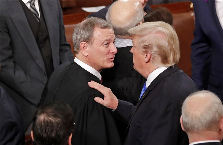 Chief Justice John Roberts pictured with President Trump.