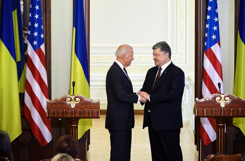 Joe Biden meets with the former president of Ukraine, Petro Poroshenko.