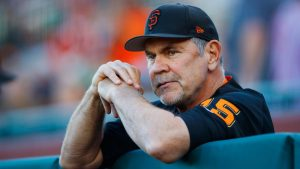 Former catcher and current Giants manager Bruce Bochy prepares for another game.