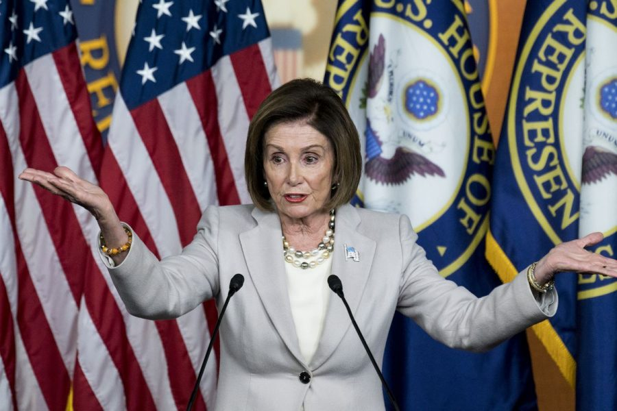House Speaker Nancy Pelosi at one of her weekly press conferences.