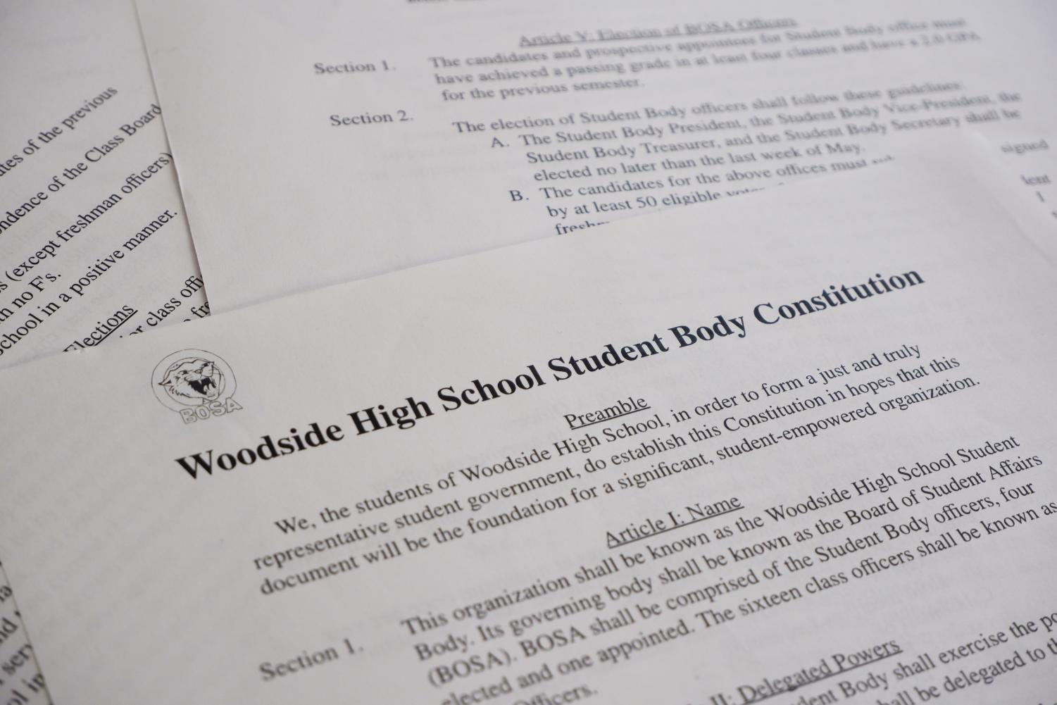 Similar to the United States Constitution, Woodside's Student Body Constitution begins with a preamble and is divided into articles.