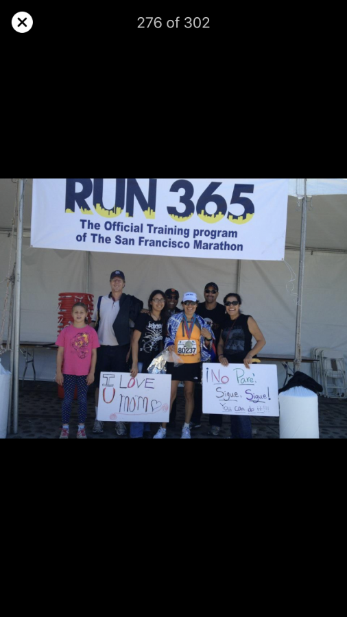 Woodside teacher Jenny Ortez, second from right on the bottom, , poses during a training session during the buildup for a 2012 San Francisco marathon run. It was her first and only marathon.