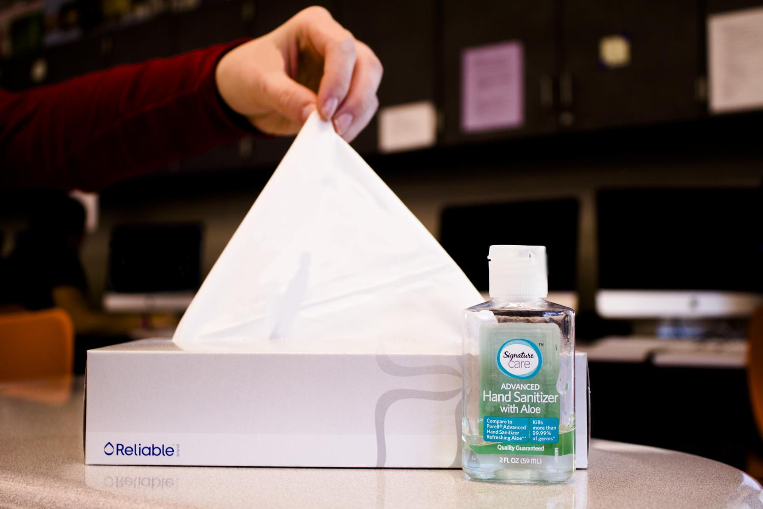 Students reach for tissues and hand sanitizer as flu season approaches.