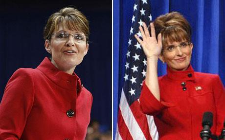 Tina Fey (right) famously imitated Sarah Palin (left) on SNL.