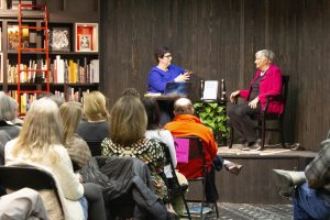 Journalist Angie Coiro interviews Diane Ravitch at Kepler's Bookstore in Menlo Park.