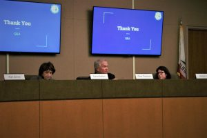 Sequoia Union High School District Board of Trustees members Carrie DeBois, Chris Thomas, and Georgia Jack (left to right) look on as the board discusses the outbreak of the coronavirus.