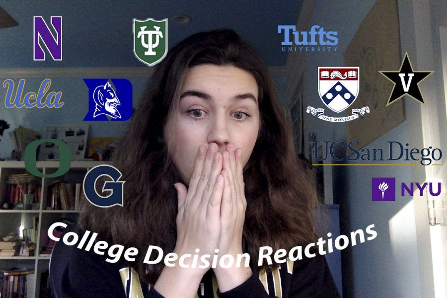 Many YouTube video thumbnails for college decision reaction videos look similar to this one.
