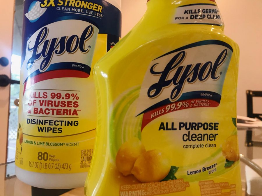 The disinfectants used to sanitize groceries and packages.