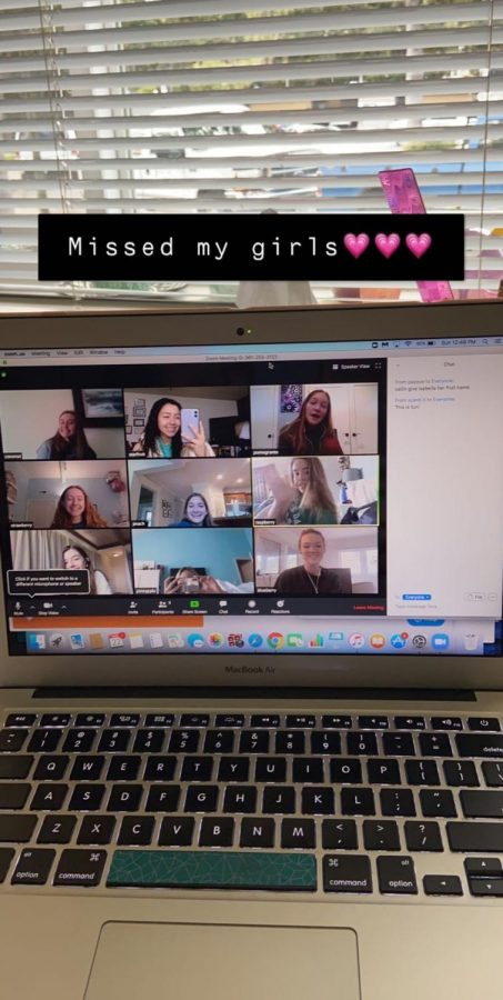 A group of seniors converse via Zoom meeting weeks into the pandemic to make up for lost time at school.