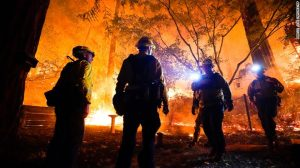 Image from CNN.com. Fires rage in Boulder Creek, California on August 21.