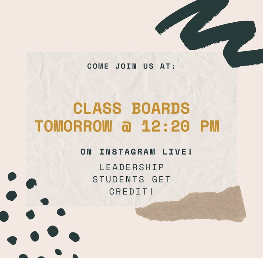 Woodside class of 2020's  reminder on their instagram for class board meetings.