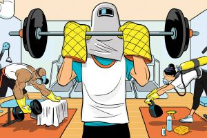 Illustration of a person working out under heavy homemade protective gear.